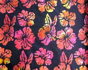 Red and Orange Large Floral on  Black Batik from Hoffman