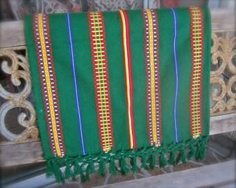 Artisan Woven Table Runner Guatamalan Mexican Ethnic Boho Design Tassels Green Red Yellow Blue Stripes Boho Decor Tribal Home Furnishings