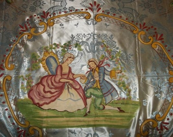 "Antique Hand Painted ITALIAN Bed Spread ..Damasco S. Leucio..Good Condition...Big 86"" by 102""..FREE Shipping"