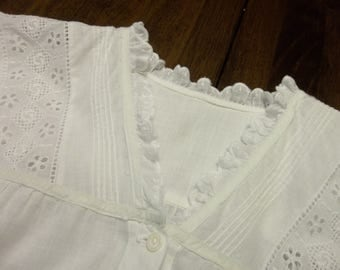 Victorian Night Gown...Mother of Pearl Buttons...Ruffles... Whitework Embroidery...New Old Stock Condition