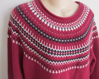 Men Women Sweater nordic ski design  L large