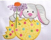 50% OFF SALE Grey Easter Bunny Machine Applique Embroidery Design - 4x4, 5x7 & 6x8
