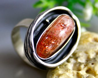 Sunstone Heliolite Stone Ring Sterling Silver Jewelry