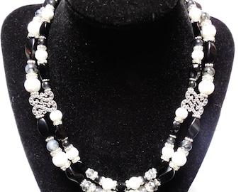 "Silver Black Crystal Necklace, ONYX Gemstones,Agate,Bone,Swarovski Crystals & Earrings Choker Lead FREE Nickel FREE 16"" - 18"" Jewelry Set"