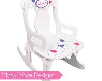 Girls Personalized Rocking Chair White Puzzle Rocker for toddler baby nursery shower first birthday ladybug, flowers, princess, pink PUZZ