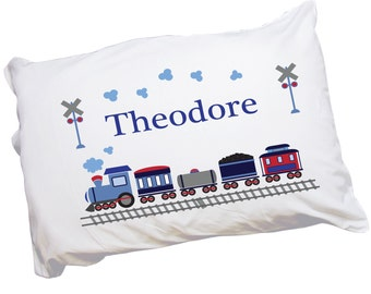 boys train pillow case custom pillowcase with trains engine for toddler boy bed cot crib