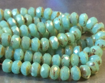 Czech Faceted Rondelle Bead 3mm x 5mm Aqua Opal Picasso 1 Strand