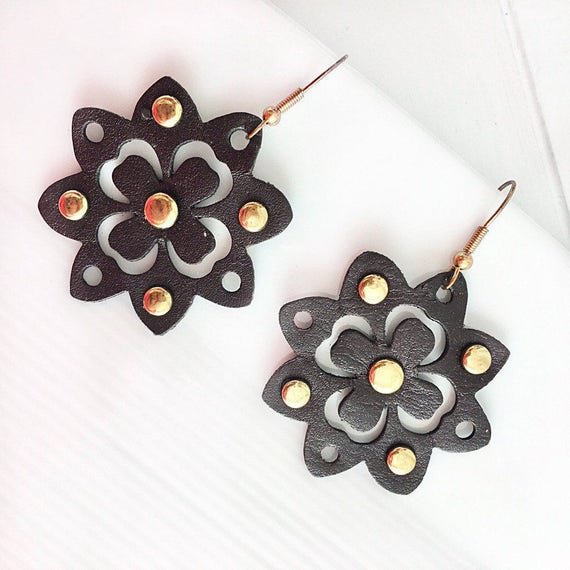 SALE Brown Flower Earrings Leather Clover Gold