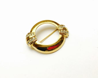 Vintage Avon 1886-1986 BROOCH, Solid Gold tone, Clear Rhinestones, Clearance S A L E, Item No. B689
