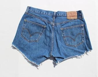 Vintage Levi's Denim Shorts - Distressed - 34 W-Blue denim -pockets - short