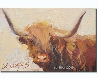 Western Highland cow portrait Original oil Painting  on canvas panel 12CMX18CM