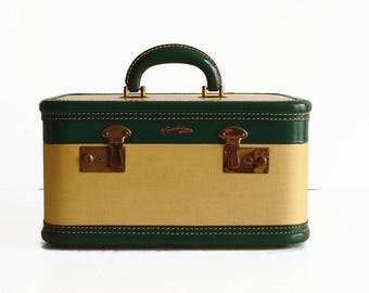 vintage train makeup case luggage with key 1950s suitcase travel