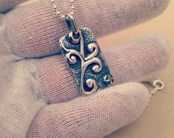 Sterling Silver Lace Dogtag Pendant