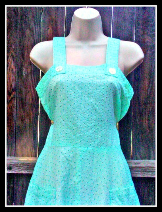 1940s  1950s Green Blue House Dress  Rockabilly Pin Up Sun Dress Small/ Medium