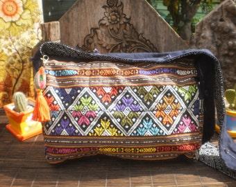 Hand Made Messenger Bag, Hand Woven Textile Bag,Handmade Up cycled Messenger Bag, Textile  Shoulder Bag