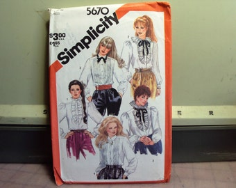 Womens blouse pattern, long sleeve tuxedo blouse with tucks or ruffles, pattern uncut