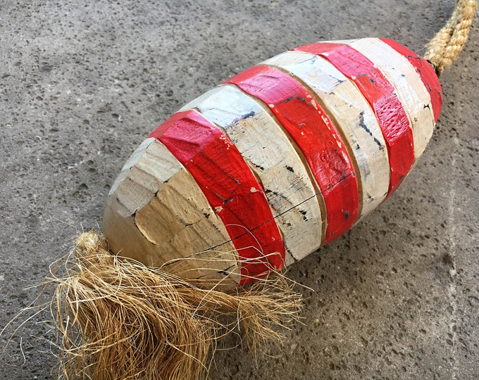 Beach Decor Vintage Nautical Wooden White Red Lobster Buoy SeaStyle