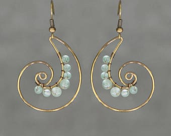 Gunmetal Jade Scroll hoop copper wiring shell hoop Rococo earring handmade US free shipping Anni Designs