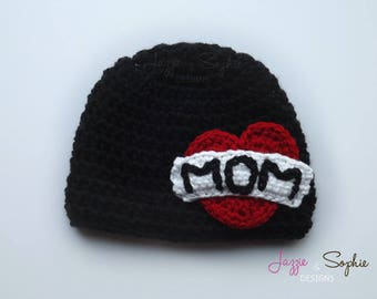 Tattoo Hat - Black and Red - 0 to 3 months