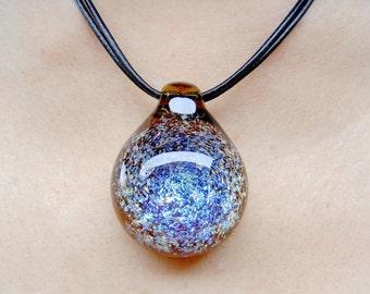 Rainbow Dichroic Galaxy Glass pendant necklace,  Lampwork Pendant, nebula pendant, pendant jewelry, boro pendant