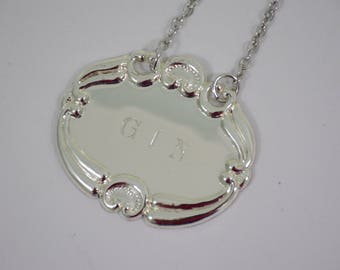 Silver Plated GIN Liquor Bottle Tag