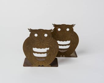 Vintage 1980s Brass Owl Bookends