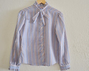 Vintage 70's Secretary  Blouse with Bow, Striped Cotton Blend
