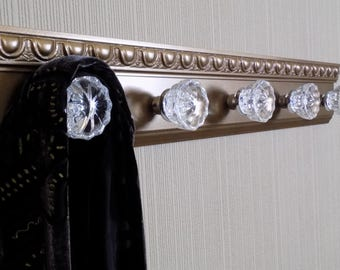 """Bronze gold coat rack w/ 5 glass door knobs and decorative beveled moulding. shabby chic style ideal for robe purse coat or decor 26 """""""