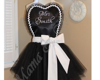 Tulle Bridal Apron Featuring Heart Shaped Bib Custom Embroidered Name Of Your Choice...Perfect Bridal Shower Gift