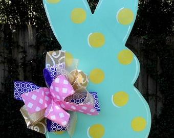 Easter Door Hanger, Bunny Door Hanger,Turquoise and Gold Rabbit, Spring Door Hanger, Wreath Accessories, Baby Shower Decor