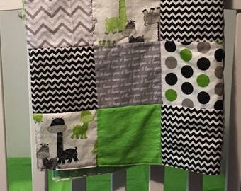 Giraffe Nursery Bedding, Bumperless Crib Bedding Set, Jungle Crib Bedding, Crib Set for Boy Safari Modern Nursery Lime Green Gray Black