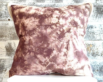 Rustic Shibori Dyed Pillow Cover in Raisin