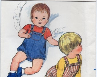 Infants Overalls With Shaped Upper Edge And Shoulder Straps Baby Clothes Size Large Sewing Pattern Butterick 4465