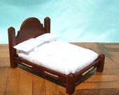 Dollhouse Double Bed Mini Double Bed 12th Scale Mahogany Rope Bed Smalll Doll Bed Full Size 12th Scale Dollhouse Bed Miniature Dollhouse Bed
