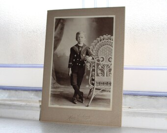 Victorian Boy Cabinet Card Photograph Antique 1800s