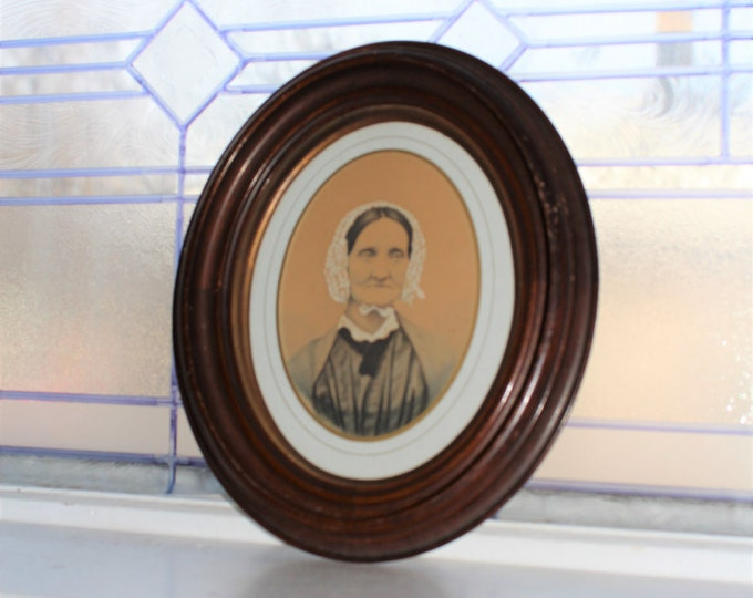 1800s Portrait Old Woman Hand Tinted In Oval Frame Rustic Farmhouse