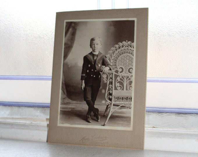 Victorian Boy Cabinet Card Photograph Antique 1800s