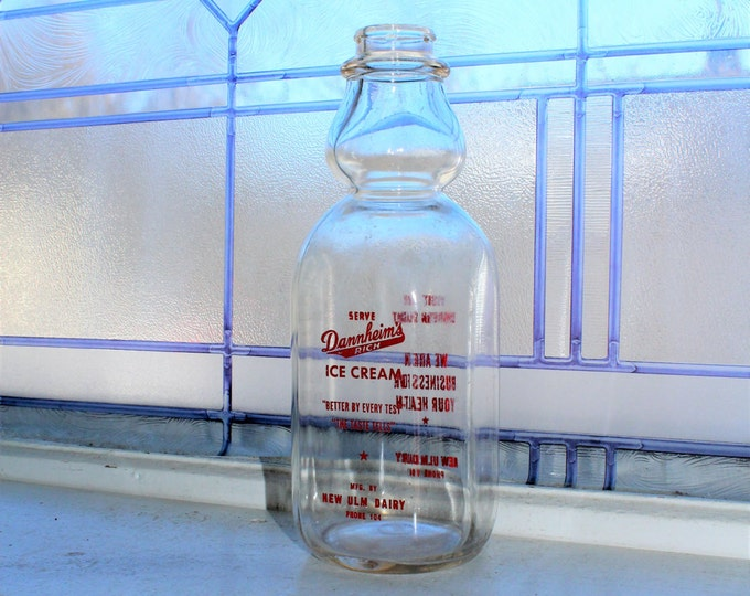 Vintage Cream Top Milk Bottle New Ulm Dairy Minnesota