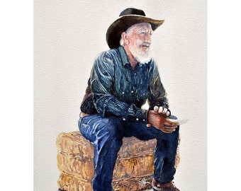 Watercolor ORIGINAL - Cowboy Poet - poetry, cowboy, humor, western, rustic, rancher, rhyme