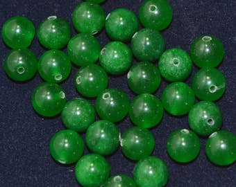 Medium green jade 8mm rounds small lot bargain price  DB153