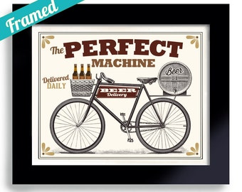 Cycling Art Beer Gift Bike Gift Framed Bicycle Art Print Bikes and Beer Bike Enthusiast Biker Gift Mens Gift for Him Beer Drinker Bike Lover