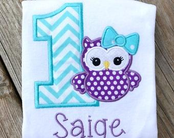 Girls first birthday outfit, girls birthday shirt, girls first birthday, girls birthday, owl birthday shirt, owl, first birthday, owl shirt