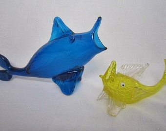 Mexican Glass Fish Bowls, Pair