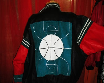Amazing Vintage Basketball Leather BOMBER Jacket With Pockets Lined Size XL Bikers DREAM