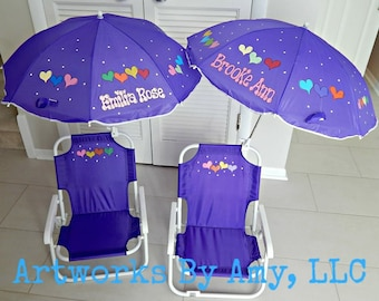Personalized Umbrella Folding Beach Chair For Kids