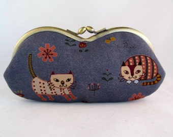 Cat Lover Gift - Soft Eyeglass Case - Eye Glass Case - Sunglasses Case - Cute Glasses Case - Sunglass Case - Glasses Case Cats Blue Pink