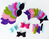 Felt Bows Unassembled, 14 bows, felt bows, felt die cut, felt supplies, felt crafts, Headband Supplies, Felt Bow Headband, hair bow supplies