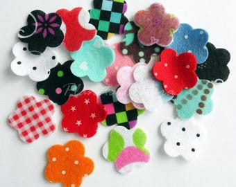 Felt Flower . Printed felt flower. Set 20 pieces, felt shapes, felt die cut, appliques,felt die cut, felt supplies