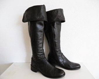 BLACK MUSKETEERS . Superb Butter Soft Leather Lined With Leather High Boots With Cuffs . 1980s 80s Please, Check Measurements Size Info