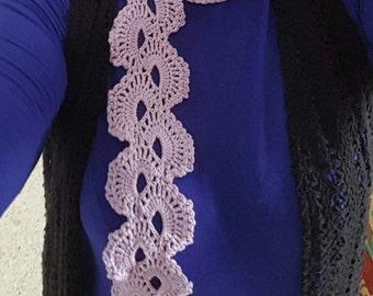 Lilac, Crocheted Skinny Scarf.